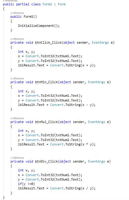 کد ماشین حساب به زبان سی شارپ c#