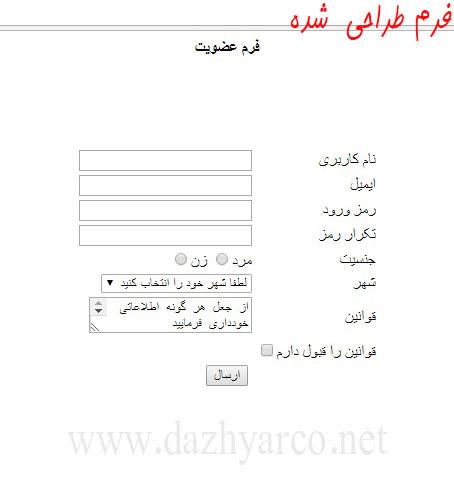 ایجاد فرم در سایت به زبان php - خروجی