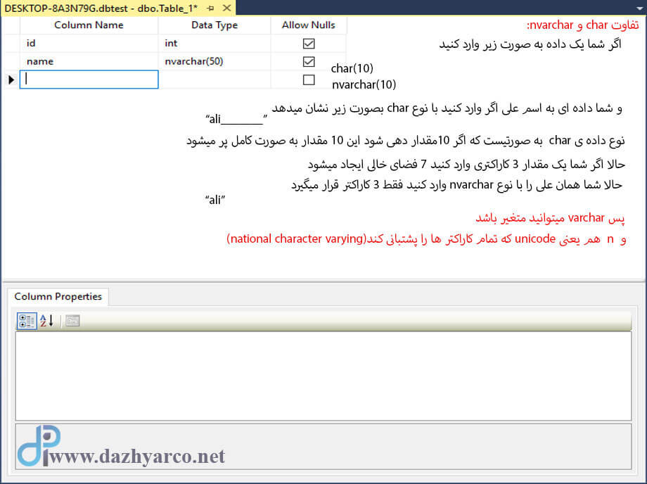 اتصال به SQL Server - ایجاد جدول