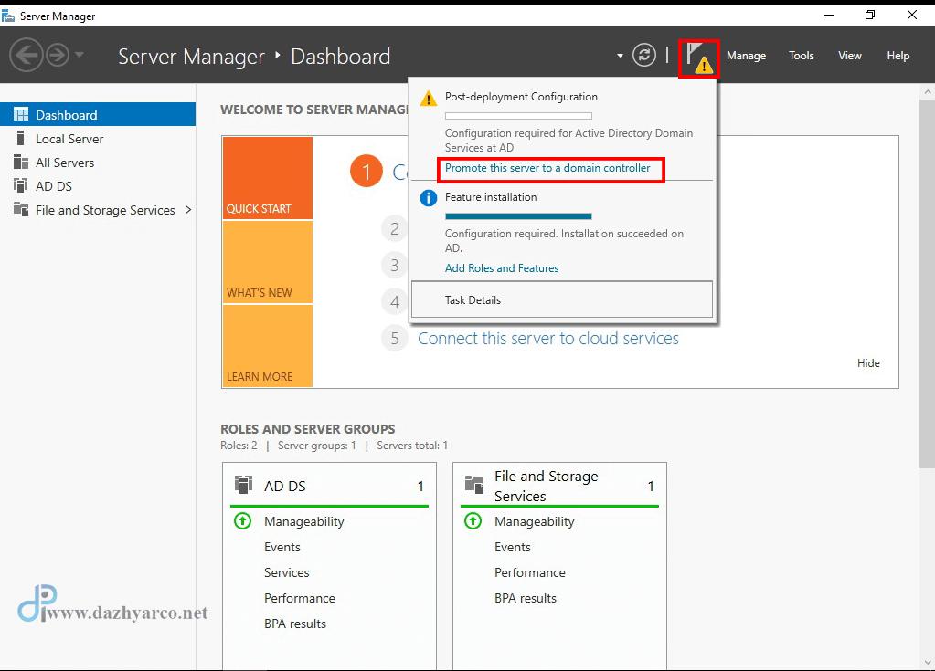 نصب اکتیو دایرکتوری در ویندوز سرور 2016 | ایجاد Domain controller