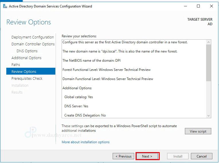 نصب اکتیو دایرکتوری در ویندوز سرور 2016   گزارش تنظیمات