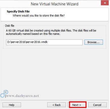نصب ویندوز سرور 2016 در vmware | انتخاب فایل دیسک