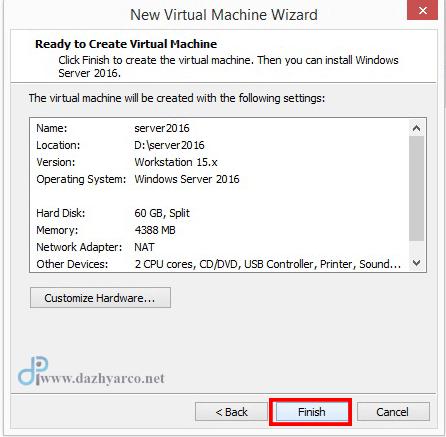 نصب ویندوز سرور 2016 در vmware | خلاصه گزارش تنظیمات