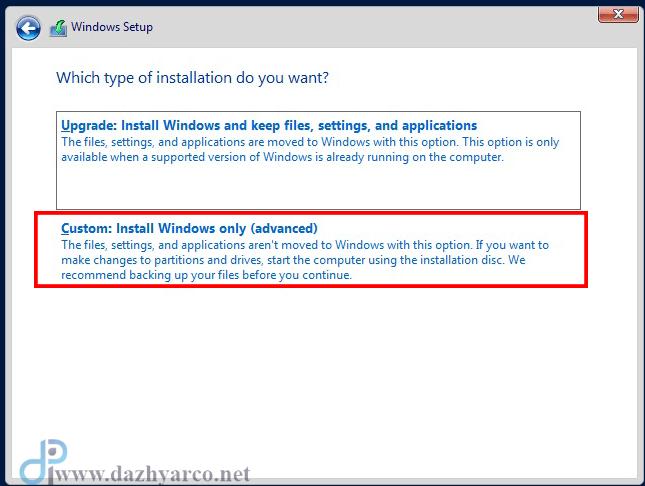 نصب ویندوز سرور 2016 در vmware | انتخاب حالت custom