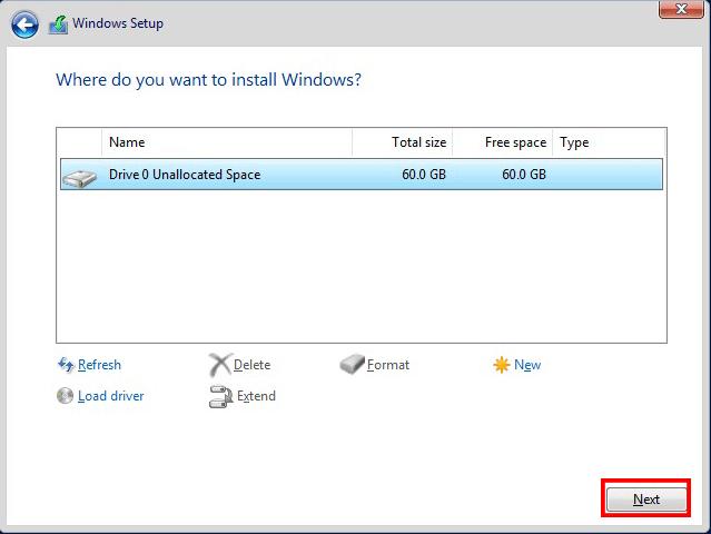 نصب ویندوز سرور 2016 در vmware | انتخاب درایو برای نصب ویندوز