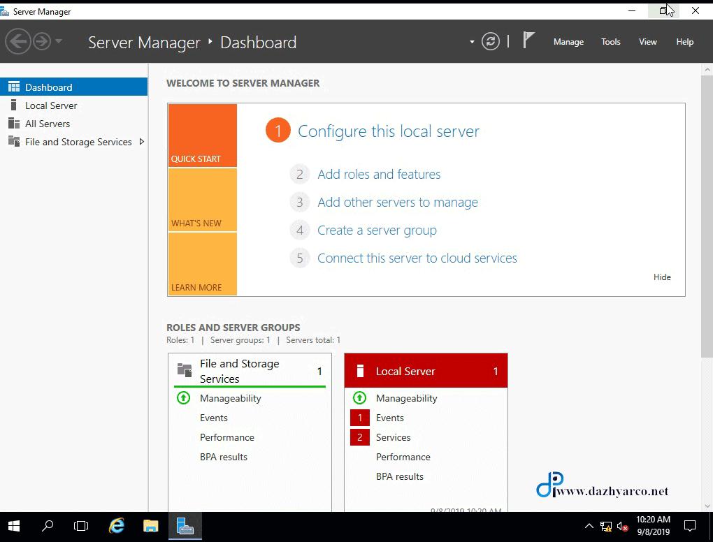 نصب ویندوز سرور 2016 در vmware | کنسول مدیریت سرور