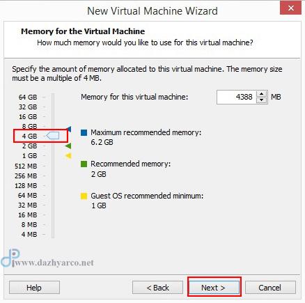 نصب ویندوز سرور 2016 در vmware | انتخاب رم