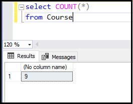 دستور count در SQL | شمارش تعداد سطرهای جدول course