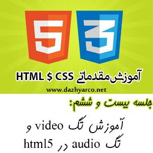 آموزش مقدماتی HTML و CSS -جلسه 26- آموزش تگ video و تگ audio در html5