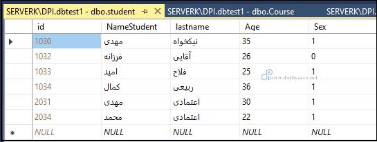 دستور delete در sql - نتیجه اجرا